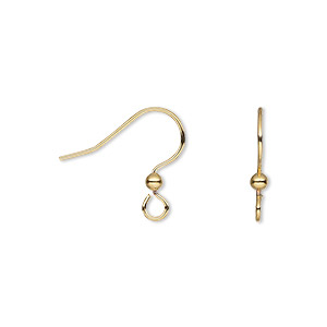 earwire, gold-finished stainless steel and brass, 13.5mm fishhook with 2.5mm ball and open loop, 21 gauge. sold per pkg of 25 pairs.