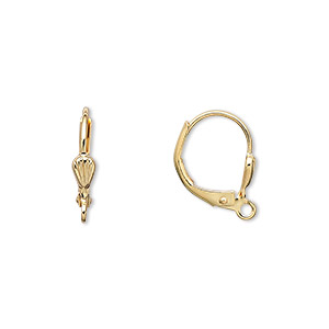 earwire, gold-plated brass, 15mm leverback with 6x3mm shell and open loop. sold per pkg of 250 pairs.