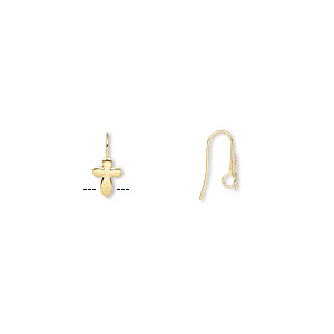 earwire, gold-plated brass, 16mm fishhook with 10x7mm cross and hidden open loop, 22 gauge. sold per pkg of 50 pairs.