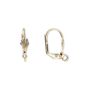earwire, gold-plated brass, 17mm leverback with 8x4mm shell and open loop. sold per pkg of 50 pairs.