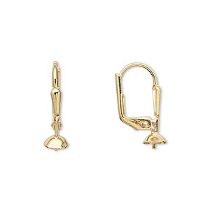 earwire, gold-plated brass, 19mm leverback with 5mm cup and peg, fits 4-6mm bead. sold per pkg of 50 pairs.