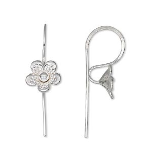 earwire, hill tribes, silver-plated brass, 21mm fishhook with flower and open loop, 20 gauge. sold per pair.