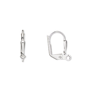 earwire, imitation rhodium-plated brass, 16mm leverback with 7x2mm plain shield and open loop. sold per pkg of 10 pairs.