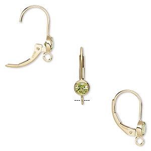 earwire, peridot (natural) and 14kt gold-filled, 17mm leverback with 4mm faceted round and open loop. sold per pair.