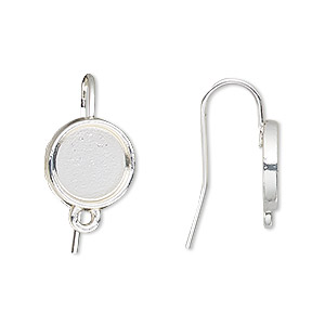 earwire, silver-finished brass, 19mm fishhook with 10mm round setting and closed loop, 18 gauge. sold per pkg of 5 pairs.