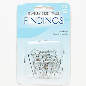 earwire, silver-finished steel, 33-34mm fishhook with 28mm stack-a-bead headpin shank, 19 gauge. sold per pkg of 10 pairs.