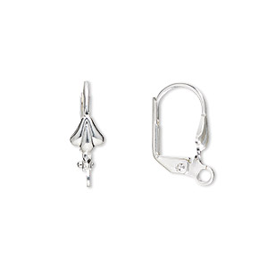 earwire, silver-plated brass, 18mm leverback with 8x6mm shell and open loop. sold per pkg of 5 pairs.