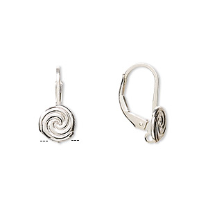 earwire, sterling silver, 17mm leverback with 8mm swirl and hidden closed loop. sold per pair.