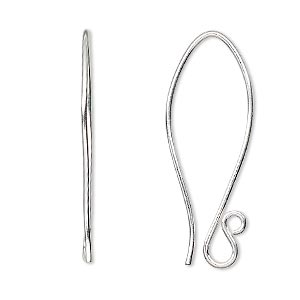 earwire, sterling silver, 35mm folded fishhook with open loop, 19 gauge. sold per pkg of 10 pairs.