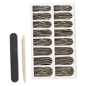 embellishment, cailyn™, plastic and adhesive, black with gold-colored glitter, 29x9mm-29x15mm pre-cut stickers with tiger stripes. sold per pkg of 16.