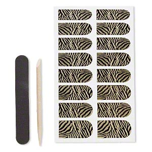 embellishment, cailyn™, plastic and adhesive, black with gold-colored glitter, 29x9mm-29x15mm pre-cut stickers with zebra stripes. sold per pkg of 16.