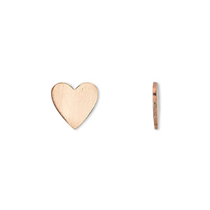 embellishment, copper, 10mm undrilled double-sided shiny flat heart blank, 18 gauge. sold per pkg of 10.