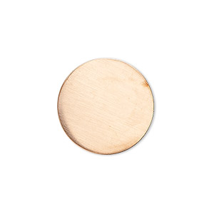 embellishment, copper, 20mm undrilled double-sided shiny flat round blank, 18 gauge. sold per pkg of 4.