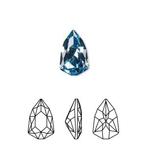 embellishment, swarovski crystal rhinestone, aquamarine, foil back, 13.6x8.6mm faceted trilliant fancy stone (4707). sold per pkg of 72.