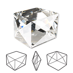 embellishment, swarovski crystal rhinestone, crystal clear, foil back, 27mm faceted tilted dice fancy stone (4933). sold per pkg of 8.