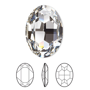 embellishment, swarovski crystal rhinestone, crystal clear, foil back, 30x22mm faceted oval fancy stone (4127). sold per pkg of 24.