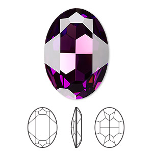 embellishment, swarovski crystal rhinestone, crystal passions, amethyst, foil back, 30x22mm faceted oval fancy stone (4127). sold individually.