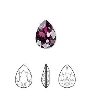embellishment, swarovski crystal rhinestone, crystal passions, amethyst, foil back, 14x10mm faceted pear fancy stone (4320). sold per pkg of 12.
