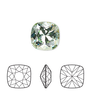 embellishment, swarovski crystal rhinestone, crystal passions, chrysolite, foil back, 12x12mm faceted cushion fancy stone (4470). sold individually.