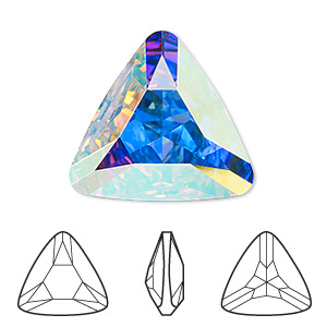 embellishment, swarovski crystal rhinestone, crystal passions, crystal ab, foil back, 23x23x23mm faceted triangle fancy stone (4727). sold per pkg of 4.