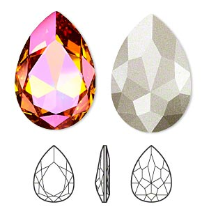 embellishment, swarovski crystal rhinestone, crystal passions, crystal astral pink, foil back, 30x20mm faceted pear fancy stone (4327). sold per pkg of 4.