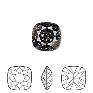 embellishment, swarovski crystal rhinestone, crystal passions, crystal black patina, foil back, 12x12mm faceted cushion fancy stone (4470). sold per pkg of 6.