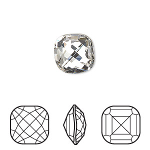 embellishment, swarovski crystal rhinestone, crystal passions, crystal clear, foil back, 12x12mm faceted classical cushion fancy stone (4461). sold per pkg of 4.