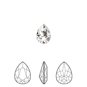 embellishment, swarovski crystal rhinestone, crystal passions, crystal clear, foil back, 10x7mm faceted pear fancy stone (4320). sold per pkg of 24.