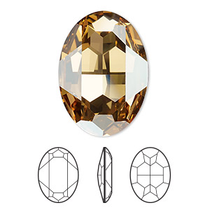 embellishment, swarovski crystal rhinestone, crystal passions, crystal golden shadow, foil back, 30x22mm faceted oval fancy stone (4127). sold individually.