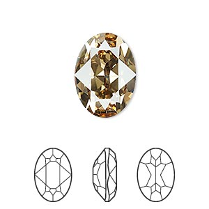 embellishment, swarovski crystal rhinestone, crystal passions, crystal golden shadow, foil back, 18x13mm faceted oval fancy stone (4120). sold individually.