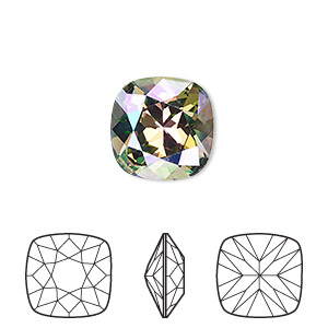 embellishment, swarovski crystal rhinestone, crystal passions, crystal paradise shine, foil back, 12x12mm faceted cushion fancy stone (4470). sold individually.