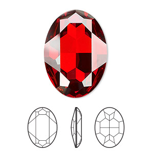 embellishment, swarovski crystal rhinestone, crystal passions, crystal red magma, foil back, 30x22mm faceted oval fancy stone (4127). sold per pkg of 4.