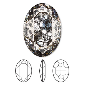 embellishment, swarovski crystal rhinestone, crystal passions, crystal rose patina, foil back, 30x22mm faceted oval fancy stone (4127). sold individually.