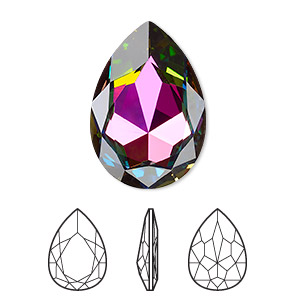embellishment, swarovski crystal rhinestone, crystal passions, crystal vitrail medium, foil back, 30x20mm faceted pear fancy stone (4327). sold individually.