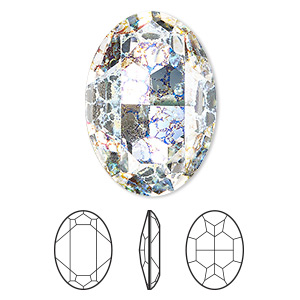 embellishment, swarovski crystal rhinestone, crystal passions, crystal white patina, foil back, 30x22mm faceted oval fancy stone (4127). sold individually.