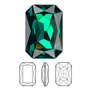 embellishment, swarovski crystal rhinestone, crystal passions, emerald, foil back, 27x18.5mm faceted emerald-cut fancy stone (4627). sold per pkg of 4.