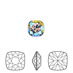 embellishment, swarovski crystal rhinestone, crystal passions, erinite shimmer, foil back, 10mm faceted cushion fancy stone (4470). sold per pkg of 6.