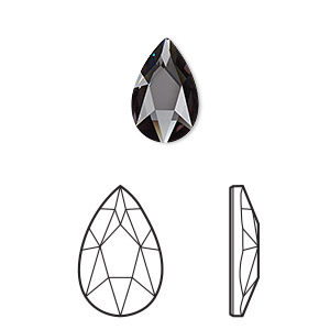 embellishment, swarovski crystal rhinestone, crystal passions, graphite, foil back, 14x9mm faceted pear flat back fancy stone (2303). sold per pkg of 6.