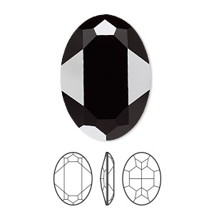 embellishment, swarovski crystal rhinestone, crystal passions, jet, 30x22mm faceted oval fancy stone (4127). sold per pkg of 4.