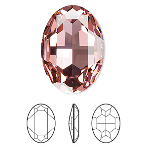embellishment, swarovski crystal rhinestone, crystal passions, light rose, foil back, 30x22mm faceted oval fancy stone (4127). sold per pkg of 4.