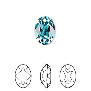 embellishment, swarovski crystal rhinestone, crystal passions, light turquoise, foil back, 14x10mm faceted oval fancy stone (4120). sold per pkg of 12.