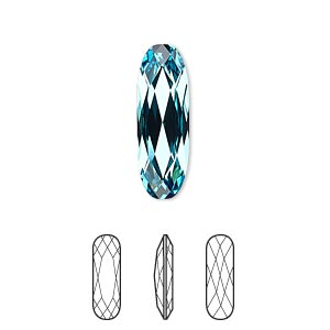 embellishment, swarovski crystal rhinestone, crystal passions, light turquoise, foil back, 21x7mm faceted long classical oval fancy stone (4161). sold per pkg of 6.