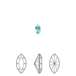 embellishment, swarovski crystal rhinestone, crystal passions, light turquoise, foil back, 6x3mm xilion navette fancy stone (4228). sold per pkg of 6.