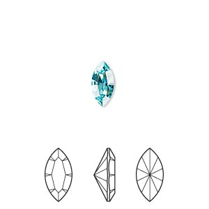 embellishment, swarovski crystal rhinestone, crystal passions, light turquoise, foil back, 10x5mm xilion navette fancy stone (4228). sold per pkg of 4.