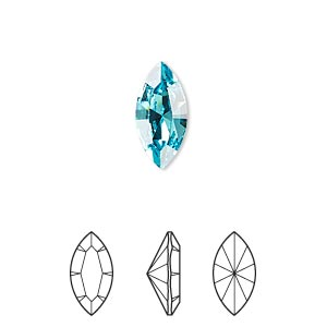 embellishment, swarovski crystal rhinestone, crystal passions, light turquoise, foil back, 15x7mm xilion navette fancy stone (4228). sold per pkg of 12.