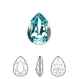 embellishment, swarovski crystal rhinestone, crystal passions, light turquoise, foil back, 18x13mm faceted pear fancy stone (4320). sold individually.