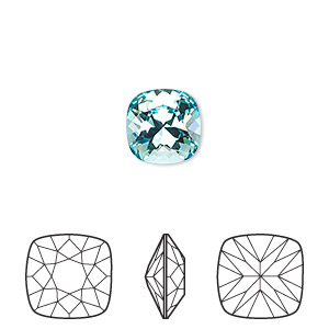 embellishment, swarovski crystal rhinestone, crystal passions, light turquoise, foil back, 10x10mm faceted cushion fancy stone (4470). sold individually.