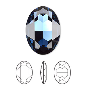 embellishment, swarovski crystal rhinestone, crystal passions, montana, foil back, 30x22mm faceted oval fancy stone (4127). sold per pkg of 4.