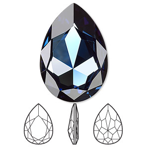 embellishment, swarovski crystal rhinestone, crystal passions, montana, foil back, 30x20mm faceted pear fancy stone (4327). sold individually.