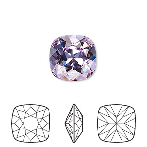 embellishment, swarovski crystal rhinestone, crystal passions, violet, foil back, 12x12mm faceted cushion fancy stone (4470). sold individually.